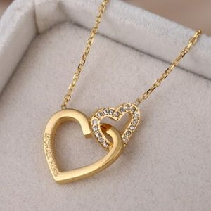 Michael Kors Gold Necklace Double Heart New
